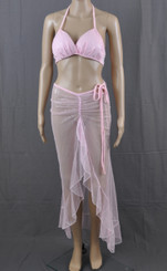 Pink Fairy Dust Long Dress And Bra Set