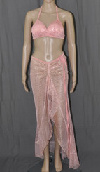 Pink With Golden Bling Long Dress And Bra Set