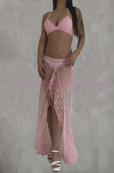 Pink Polka Dots Long Dress And Bra Set