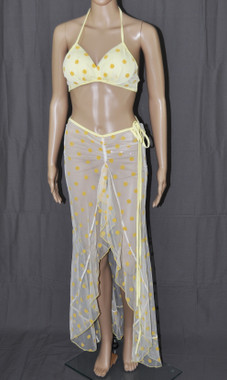 Yellow Polka Dots Long Dress And Bra Set