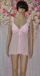 Light  Pink Mesh Babydoll
