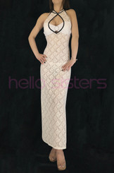 Flower Lace Long Dress (Nude)