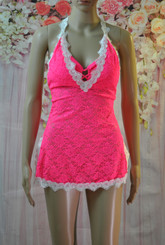 Lace and Rose Babydoll (Indian Pink)