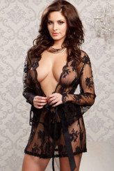 Collection Lingerie Scallop Edge Trim Butterfly Sleeves Sheer Lace Rope (Black)
