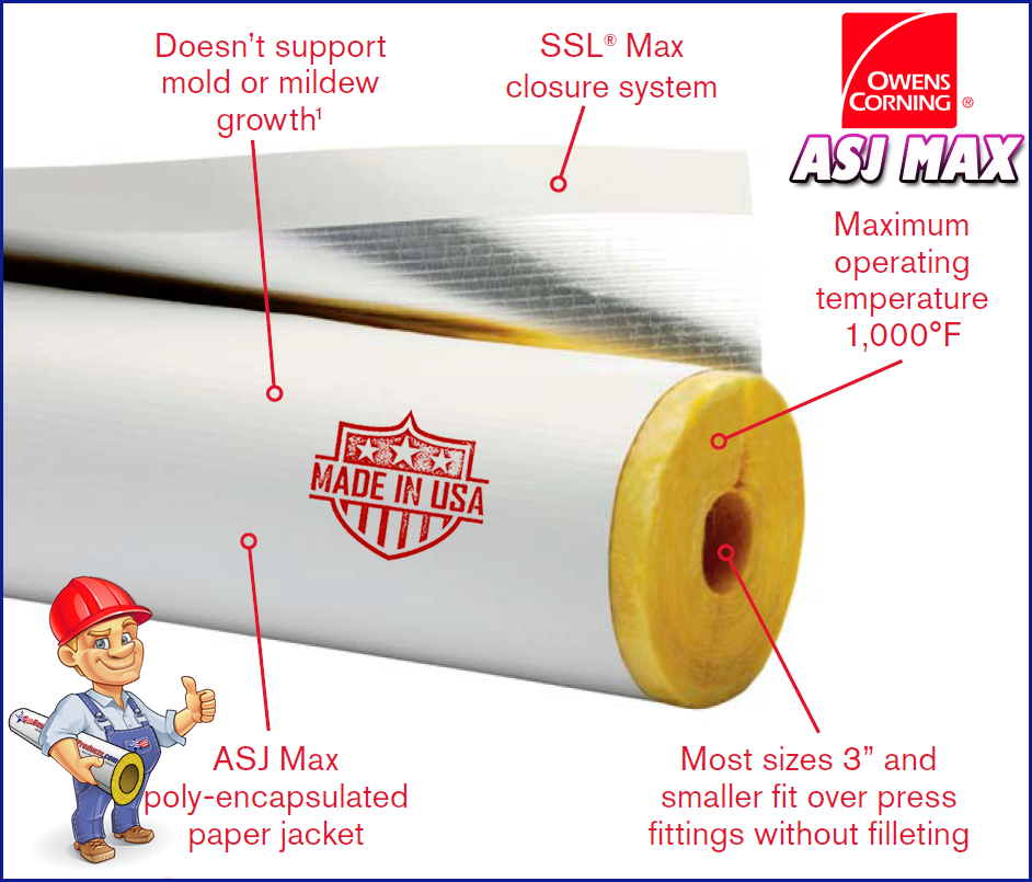 Benefits Of Owens Corning Asj Max Fiberglass Pipe Covering