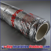 Unifrax Fyrewrap .5 Plenum Wrap wrapped around a PVC Pipe which would be fire rated if installed inside an air plenum