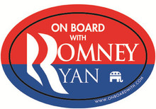 """ON BOARD WITH ROMNEY / RYAN"" 4x6 Inch Oval Bumper Sticker"