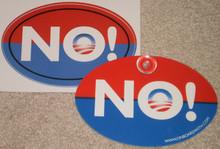 "COMBO 2 PACK - Anti-Obama NObama ""NO!"" - Qty 1, 4x6 Inch Plastic Hanging Car Window Sign & Qty 1, 4x6 Inch Political Bumper Sticker"