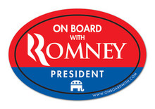 """ON BOARD WITH ROMNEY"" 4x6 Inch Oval Bumper Sticker"