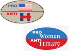 """ANTI-HILLARY COMBO 2 PACK - 1 """"PRO-USA, ANTI-HILLARY"""" & 1 """"PRO-WOMEN, ANTI-HILLARY"""" 4x6 Inch Political Bumper Stickers"""