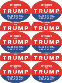 "10 PACK - ""ON BOARD WITH TRUMP - MAKE AMERICA GREAT AGAIN!"" 4x6 Inch Political Bumper Stickers"