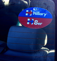 "Plastic Hanging Suction Cup Car Window Political Sign - ""HILLARY H8er (HATER)"" 4x6 Inch"