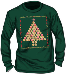 "UGLY CHRISTMAS ""SWEATER"" - SHELL CASINGS CHRISTMAS TREE - MEN'S GILDAN FOREST GREEN LONG SLEEVE T-SHIRT"