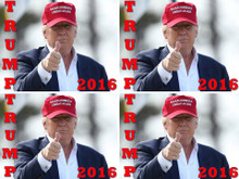 "4 PACK - ""TRUMP 2016"" 4x6 Inch Political Bumper Stickers"