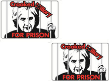 "2 Pack ""CROOKED HILLARY FOR PRISON"" 4x6 Inch Political Bumper Sticker"