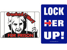 """Combo 2 Pack """"CROOKED HILLARY FOR PRISON"""" & """"LOCK HER UP!"""" 4x6 Inch Political Bumper Sticker"""