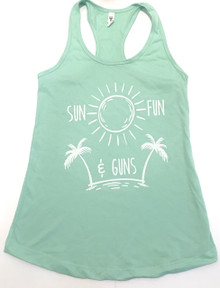 SUN FUN & GUNS FIREARMS WOMEN'S RACERBACK TANK TOP