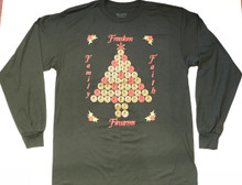 "UGLY CHRISTMAS ""SWEATER"" (LONG SLEEVE T-SHIRT) - SHELL CASINGS CHRISTMAS TREE - MEN'S FOREST GREEN"