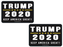 "2 PACK - ""TRUMP 2020 - KEEP AMERICA GREAT!"" 4x6 Inch Political Bumper Sticker"