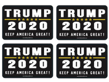 "4 PACK - ""TRUMP 2020 - KEEP AMERICA GREAT!"" 4x6 Inch Political Bumper Stickers"