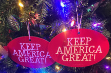Quantity 2 - PRESIDENT DONALD TRUMP - KEEP AMERICA GREAT! 4x6 Inch Christmas Tree Ornament