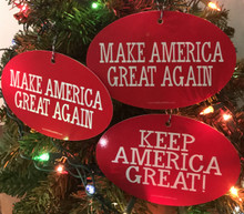 Combo 3 Pack - PRESIDENT DONALD TRUMP - MAKE AMERICA GREAT AGAIN & KEEP AMERICA GREAT! 4x6 Inch Christmas Tree Ornament