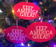 Quantity 3 - PRESIDENT DONALD TRUMP - KEEP AMERICA GREAT! 4x6 Inch Christmas Tree Ornament
