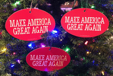 Quantity 3 - PRESIDENT DONALD TRUMP - MAKE AMERICA GREAT AGAIN 4x6 Inch Christmas Tree Ornament