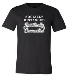Socially Distanced Spiritually Connected - Bella+Canvas Men's Black T-shirt