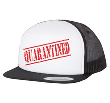 QUARANTINED - Men's Black & White Yupoong Flatbill Hat / Ball Cap