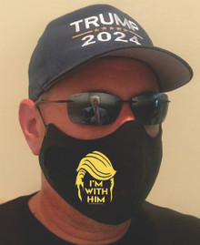 I'M WITH HIM - MACHINE WASHABLE QUALITY FACEMASK, FACE COVERING - PRESIDENT DONALD TRUMP
