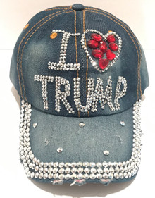 I Heart Trump - PRESIDENT DONALD TRUMP - 2020 ELECTION - Quality Bling Cap / Hat