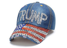 Trump USA Flag Brim - PRESIDENT DONALD TRUMP - 2020 ELECTION - Quality Bling Cap / Hat