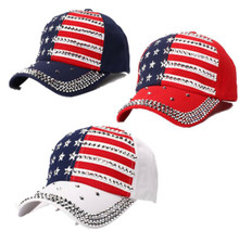 USA Patriotic Women's Rivet Bling Hat - Quality Bling Cap / Hat