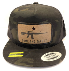 COME AND TAKE IT - Gonzales Flag - Yupoong Flatbill Multicam Snapback Ball Cap / Hat