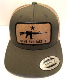 COME AND TAKE IT - Gonzales Flag - Richardson Style Olive / Tan Trucker Snapback Ball Cap / Hat