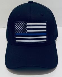 POLICE BLUE LINE FLAG HAT - Black Trucker Snapback Ball Cap / Hat