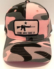 COME AND TAKE IT - Gonzales Flag - Pink Camo Adjustable Ball Cap / Hat