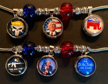 Patriotic Customizable Bracelet - Snap Button Charm - Donald Trump - Pro-Conservative - Pro-2A, Pro-USA
