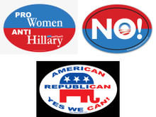 "COMBO 3 PACK - Qty 1 ""PRO-WOMEN, ANTI-HILLARY"", Qty 1 ""AMERICAN REPUBLICAN YES WE CAN!"" & Qty 1 Anti-Obama, NObama ""NO!"" 4x6 Inch Political Bumper Stickers"