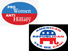 "COMBO 2 PACK - 1 ""PRO-WOMEN"" ANTI-HILLARY"" & 1 ""AMERICAN, REPUBLICAN, YES WE CAN!"" 4x6 Inch Political Bumper Stickers"
