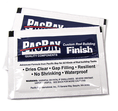 Pacific Bay's 'RodSmith' rod finish in small single-use packets (enough epoxy to finish an entire rod). Rodsmith Epoxy Rod Finish 2pk