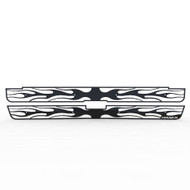 Grille Insert Guard Horizontal Flame Black Powdercoat fits: 1999-2000 Chevy Silverado LD