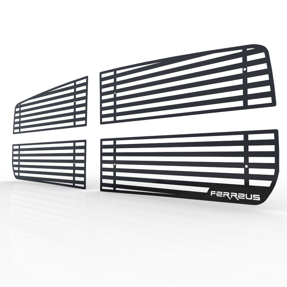 1997-2004 Dodge Dakota TRK-112-10-Black-a Ferreus Industries Grille Insert Guard Skull Flame Black Powdercoat fits