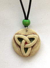 "Trinity pendant made from a white stoneware clay and coloured glazes. Supplied with an 18"" black waxed cord choker with extension  chain. Supplied on a product card."
