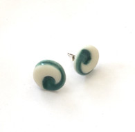 Stud earrings made from a parian clay and coloured glazes.