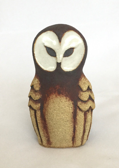 Baby Owl made from a textured stoneware clay, white glaze and oxide. Comes gift boxed and with a product card.