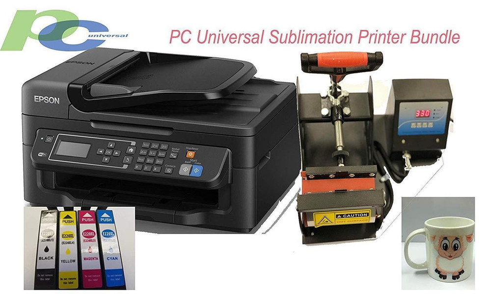PC Universal Sublimation Bundle with Printer, Heat Press Machine & Assorted  Mugs, Transfer Paper, Heat Tape, ALL INCLUDED