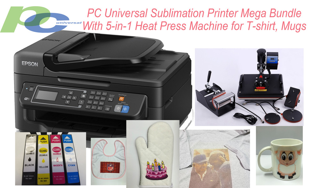 PC Universal Sublimation Bundle with A3 Wide Format Printer, 5-in-1 Heat  Press Machine & T-shirts & Assorted Mugs, Transfer Paper, Heat Tape, ALL