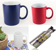 Sublimation Accessory Bundle-- White &Red/Blue Color Changing Mugs, Stainless Sport Bottle